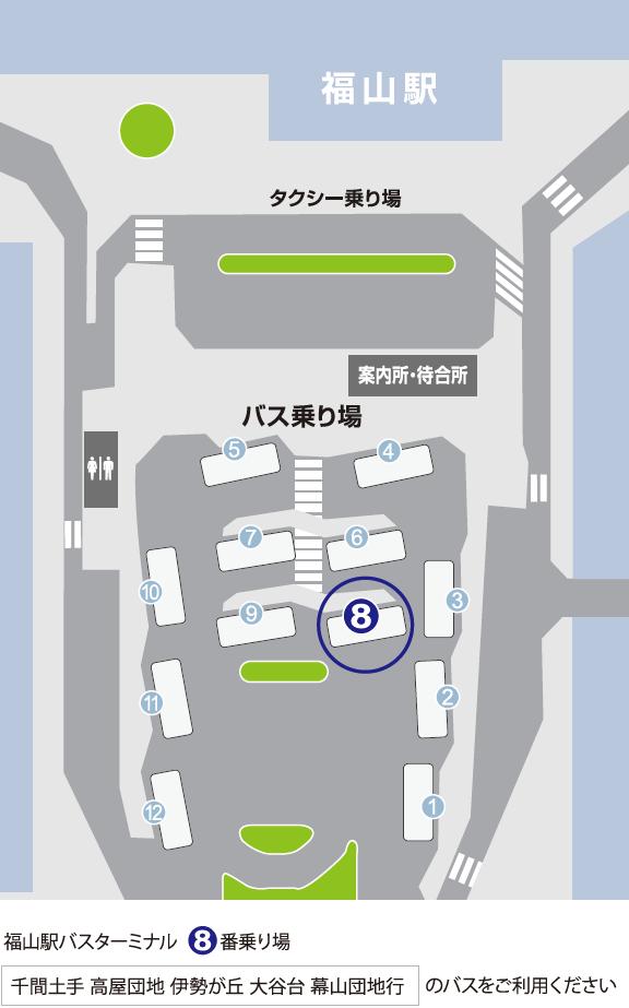 福山駅バスターミナル乗り場のご案内